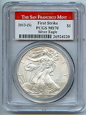 2013 S Silver American Eagle Dollar MS70 PCGS Certified Coin San Francisco C39