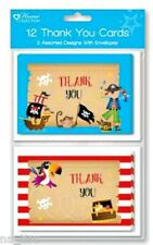 PIRATE THANK YOU CARDS +envelopes birthday party girl boy kids pack of 12