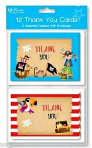 12pc PIRATE THANK YOU CARDS envelopes birthday party girl boy kids cardboard