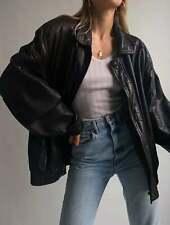 Womens Fashion 90s Leather Jacket Vintage Leather Oversized Leather Bomber Jacke