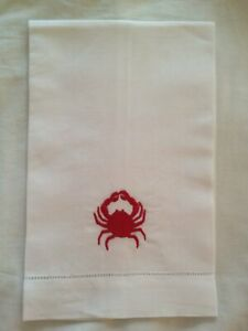 1 Linen Embroidered Guest Towels Red Crab