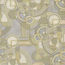 STEAMPUNK GEOM GRAY TAN IVORY W GOLD Cotton Fabric BTY for Quilting Craft Etc