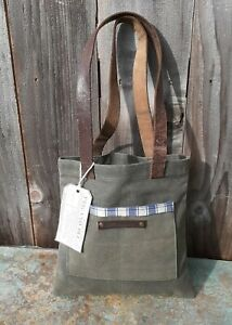 NWT PEG AND AWL MADE IN USA WAXED CANVAS LEATHER READER BAG SMALL UNISEX TOTE