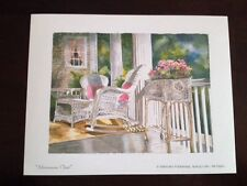 Linda Baker Michigan Afternoon Chat Mini Art Print Flower Porch White Wicker