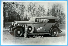 """12 By 18"""" Black & White Picture 1932 Lincoln Victoria Phaeton 4 Door Top Up"""