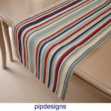 "Table Runner 210 cm rouge bleu blanc beige gris 84"" Nautique Rayures 7 ft (environ 2.13 m) maritime"