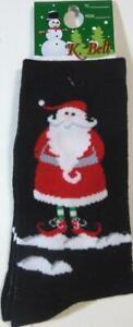 K Bell Christmas Santa Claus Presents Black Socks New Elf Shoes Sz 9-11 Gift Tag