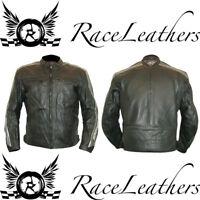 RK SPORTS RETRO BLACK SILVER LEATHER SUMMER MOTORCYCLE MOTORBIKE JACKET