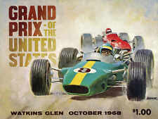 VINTAGE 1968 US GRAND PRIX AT WATKINS GLEN AUTO RACING POSTER PRINT 18x24