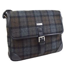 BURBERRY Check Pattern Messenger Shoulder Bag Purse Gray Wool Nylon 30337