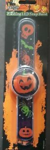 3 x Flashing LED Snap Bands- Pumpkin,frankenstein and cat
