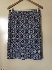 WOMENS JACQUI-E BLUE/WHITE COTTON/ELASTANE SKIRT SIZE 8