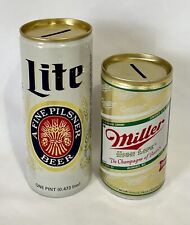 New listing 2 Vintage Miller 12oz & Miller Lite Pint Aluminum Beer Can Coin Banks