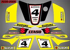 suzuki lta 50 quad graphics stickers decals name & number laminate vinyl lta50