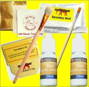 100 Gold Leaf Sheets, Gilding Mop, Paste Brush, Gilders Tip, 20ml Adhesive, Wool