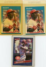 (3) Eric Davis Cincinnati Reds Baseball Cards (2) 87' Fleer, 1 86' Donruss NM/MT