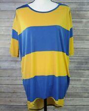 Lularoe Yellow Blue Thick Striped Short Sleeve Oversized Tunic Shirt Size XS