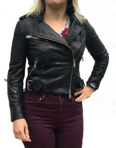 *RARE COLOUR* ALL SAINTS ATKINSON LEATHER BIKER JACKET UK 4/US 0 RRP £380 $670