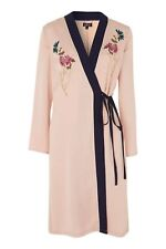 Topshop Nude Embroidered Duster Coat Size Uk10 Eur38 Us6
