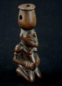 Art Africain- Magnifique Petit Sifflet de Chasseur Senoufo Senufo - 11 Cms