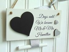 Personalised Wedding Countdown Chalkboard Plaque Sign Engagement Gift Mr & Mrs