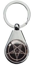 SATANIC PENTAGRAM CHROME POLISHED KEYRING PEAR STYLE SHAPE