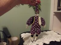 Vintage Harlequin Clown Jester Hand Painted Porcelain Doll  13.5""