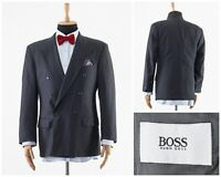 Mens HUGO BOSS Blazer Coat Jacket Double Breasted Wool Charcoal Grey Size 40 50