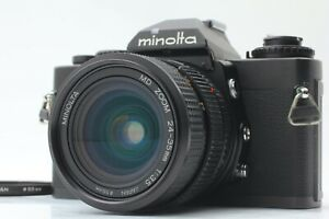 """AS-IS""  MINOLTA XD BLACK SLR FILM CAMERA W/  MD ZOOM 24-35 F3.5 MF WIDE LENS"