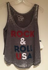 CHASER ROCK & ROLL USA TANK TOP GRANITE  GREY GRAY JERSEY MUSCLE T SZ L NEW