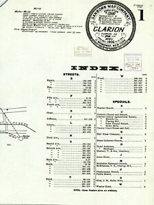 Clarion, Pennsylvania~Sanborn Map© 8 maps~ 1906~in color on CD ~high resolution