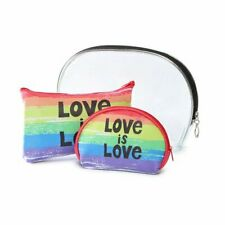 3 Set Lot Love Rainbow Makeup Bag Cosmetic Tote Purse Clutch Xmas Gift Pride New