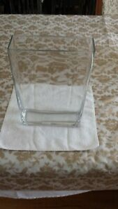 Contemporary Modern Clear  Flower Glass Vase Rectangle 200 MM x 67 mm x 300 MM