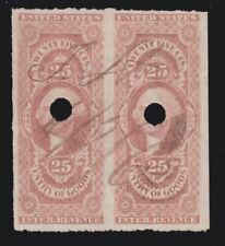 US R45a 25c Entry of Goods Used Revenue Pair w/Pen & Punch Cancels SCV $70