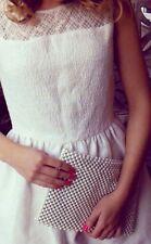 Zara Marfil Blanco Perla Con cuentas Embellecido Diamanté Bolso De Mano Embrague Bolsa Para Sobre