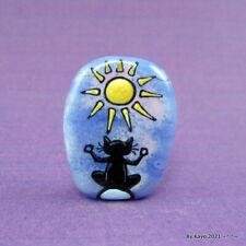 """JUST BREATHE"" a handmade lampwork glass PEACEFUL CAT focal bead byKayo SRA"