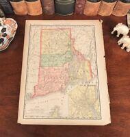 Original 1893 Antique Map RHODE ISLAND Newport Kingston Kent Newport Indian Fort