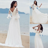 Womens Formal Lace Flare Sleeve Long Maxi Dress Evening Party Cocktail Prom Gown