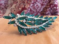 Vintage Green Clear Rhinestone Prong Set Leaf Pin Brooch Silver Tone Weiss-Like
