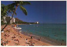Fun in the Sun at Waikiki Beach, Honolulu Hawaii, HI, Swimming etc. --- Postcard