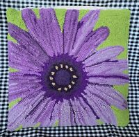 New GRANDIN ROAD Purple Daisy Wool Blend Needlepoint Pillow Cover & Insert