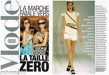 Coupure de presse Clipping 2006 (4 pages) Mode Top Model Anorexique taille Zero