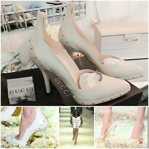 GUCCI Tom Ford Fall 2003 Collection Studded Cream White Heels Runway Shoes BOXED