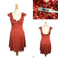 KIMCHI BLUE Daisy Red Mini Summer Dress Ruffle Shoulders Soft Rayon Size S