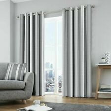 "Fusion Whitworth Grey Striped Eyelet Lined Curtains 66"" x 54"" (1187)"