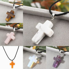 Leather Cross Natural Stone Quartz Crystal Pendant Necklace Healing Point Chakra