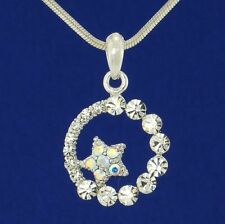 W Swarovski Crystal Moon Star Sun Circle New Pendant Necklace Jewelry Gift