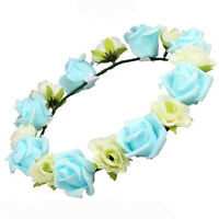 Girls Beach Rose Flower Garland Wedding Floral Headband Hair band Boho Headdress