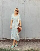 H&M GREEN FLORAL BUTTON FRONT MIDI DRESS SIZE UK 8/10 EUR 36 US 4 *BLOGGERS*