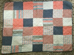 PATCHWORK QUILT Throw Lap COTTON Denim look Red White Blue stripes Baby Nautical